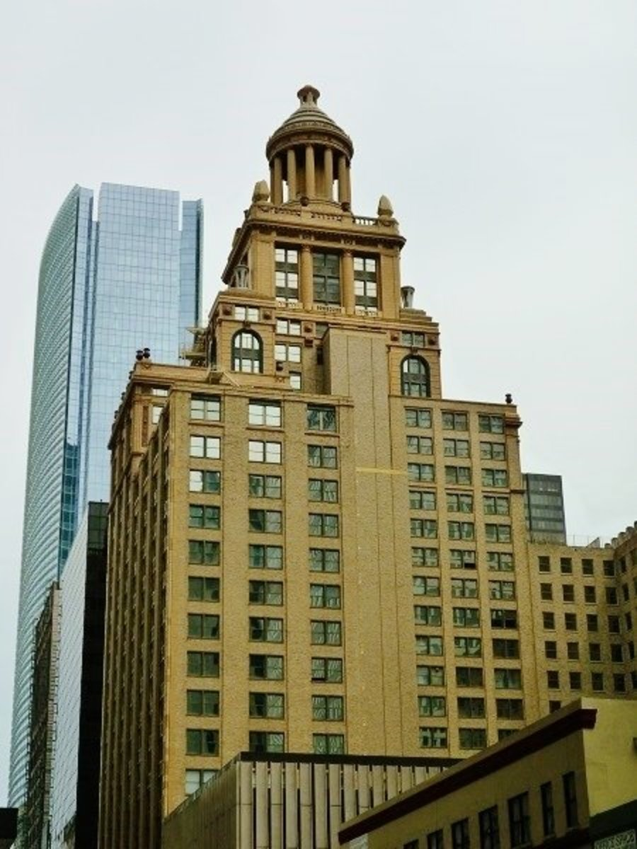 Another view of top of Niels Esperson Building