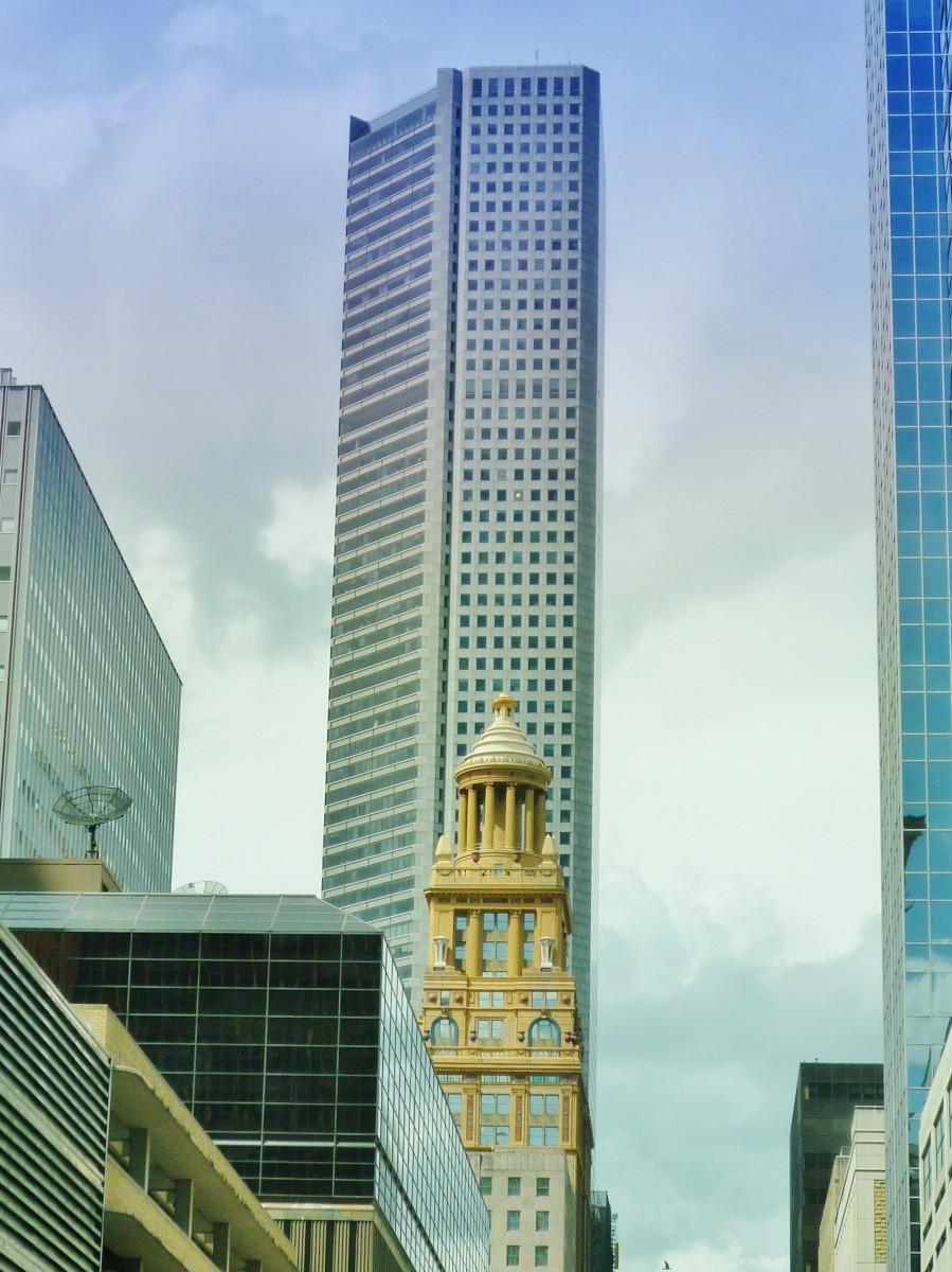 Niels Esperson building dwarfed by modern skyscrapers in downtown Houston