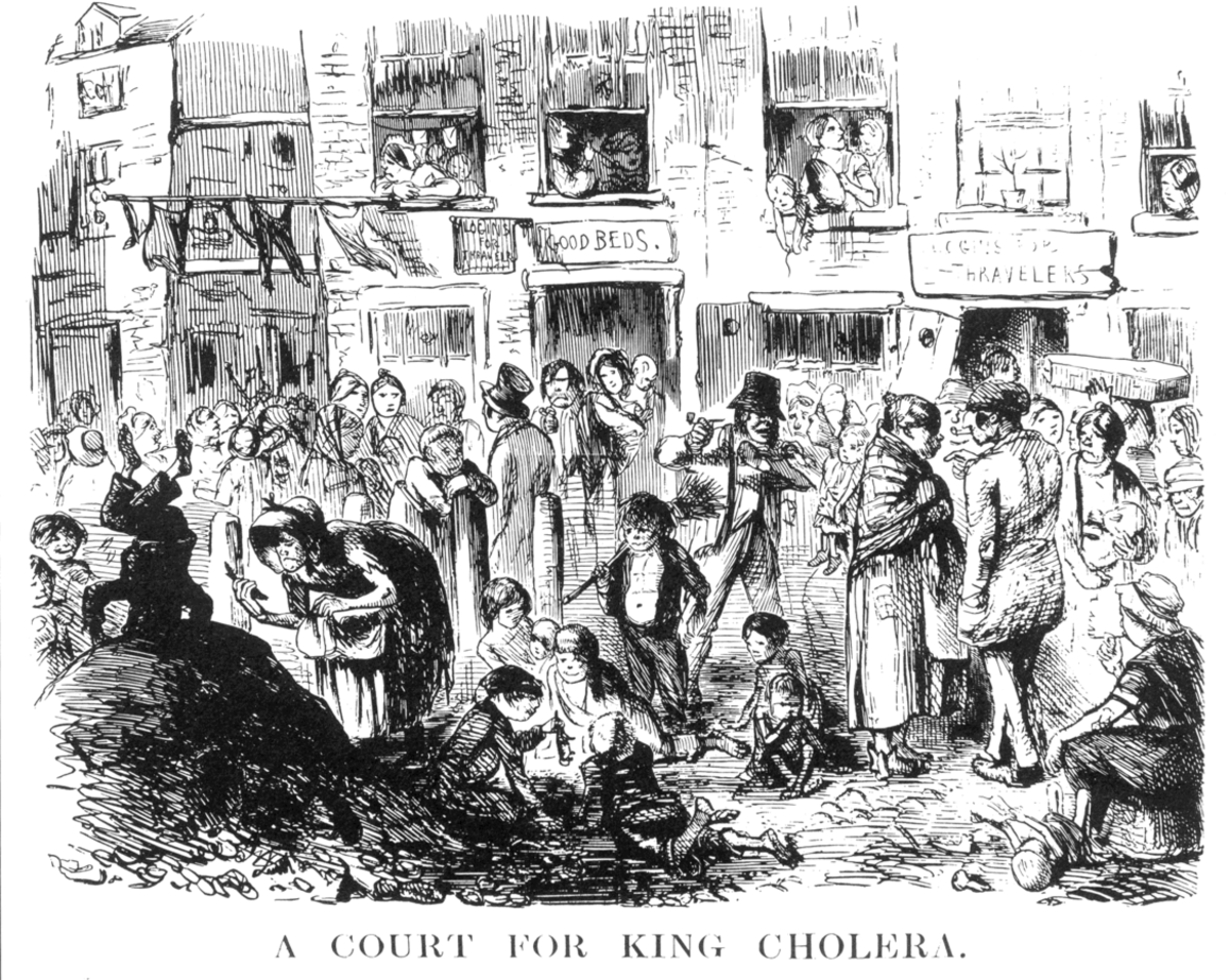 Overcrowding and a pile of dung typify the living conditions of the poor.