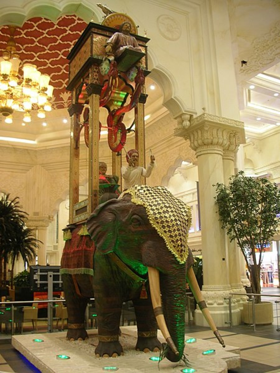 "Elephant clock that stands 8 meters high in the ""India"" court at the Ibn Battuta shopping mall in Dubai."