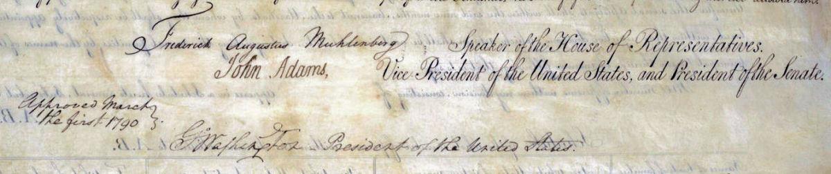 Signatures on the first Census legislation.