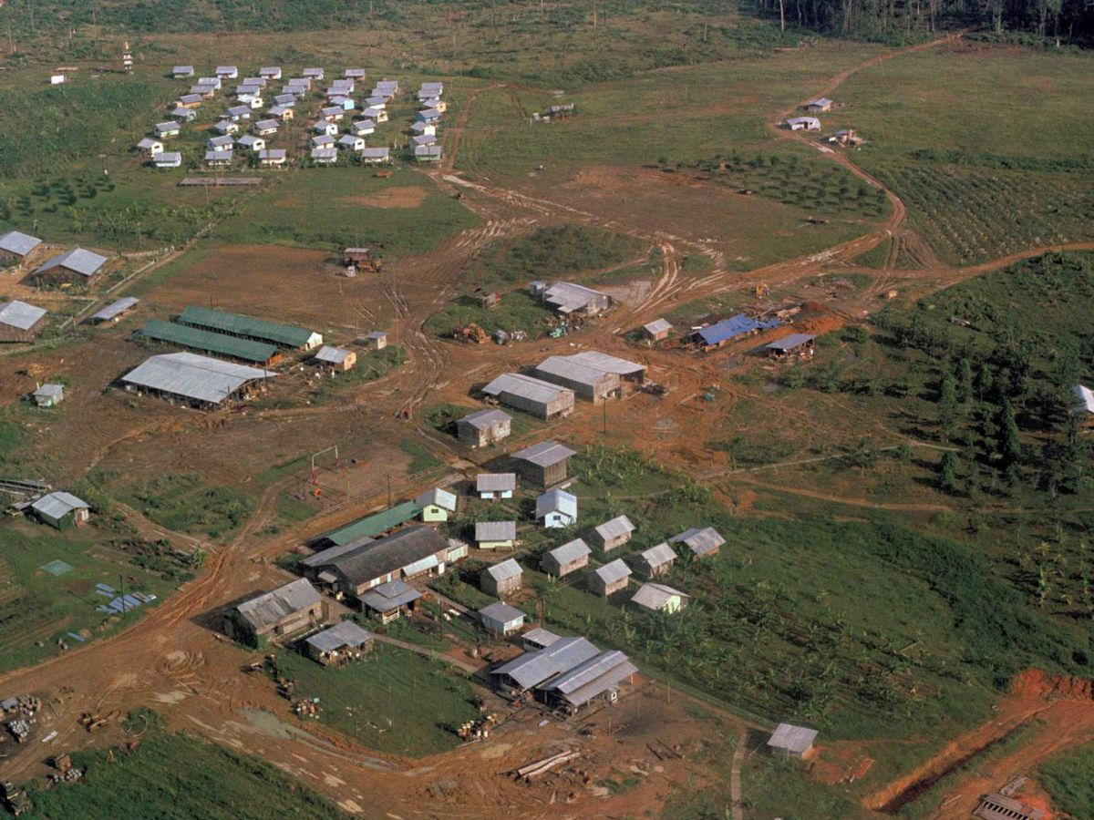 Jim Jones' Peoples Temple compound in Jonestown, Guyana, November 1978 after bodies were removed.