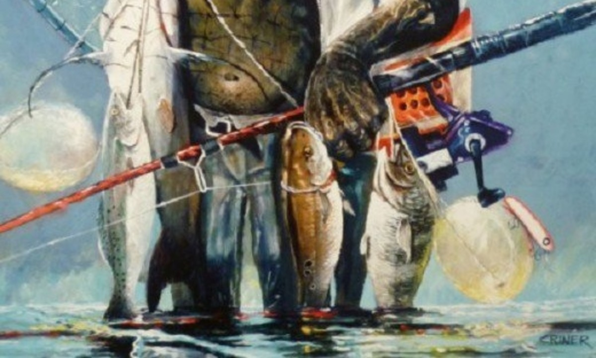 "Detail of ""Man Coming out of the Water"" by Charles Criner"