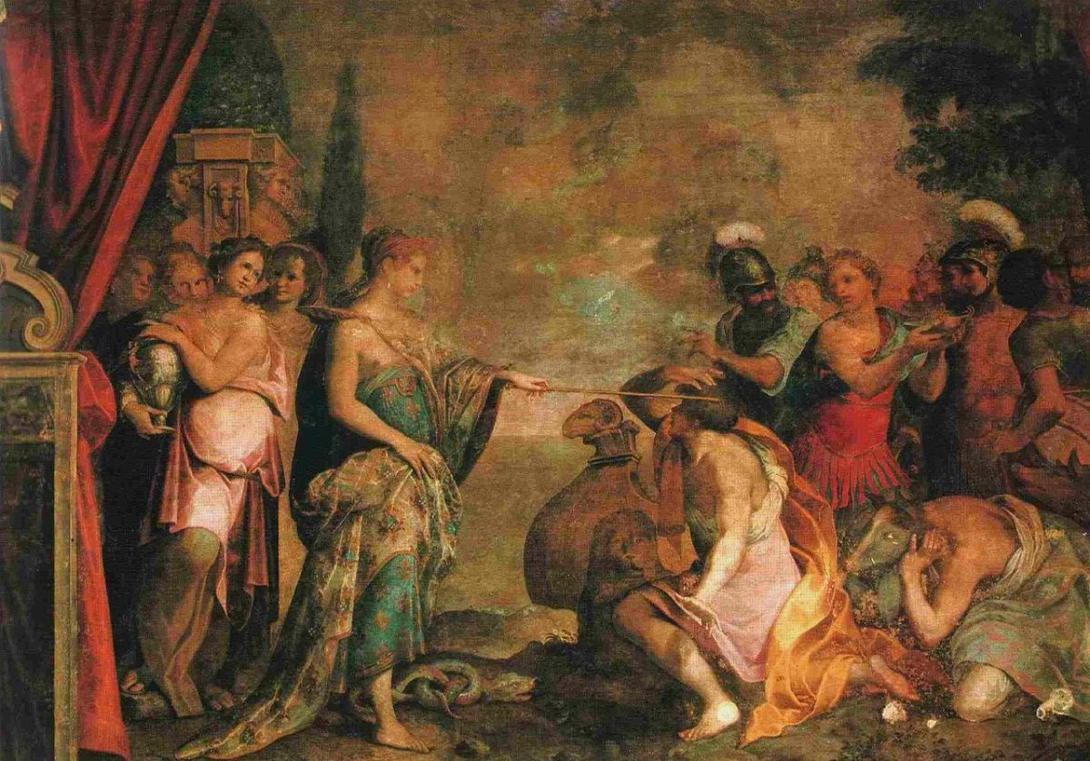 This is one of tne of many Renaissance paintings of Circe—a fresco painted by Giovanni Battista Trotti.