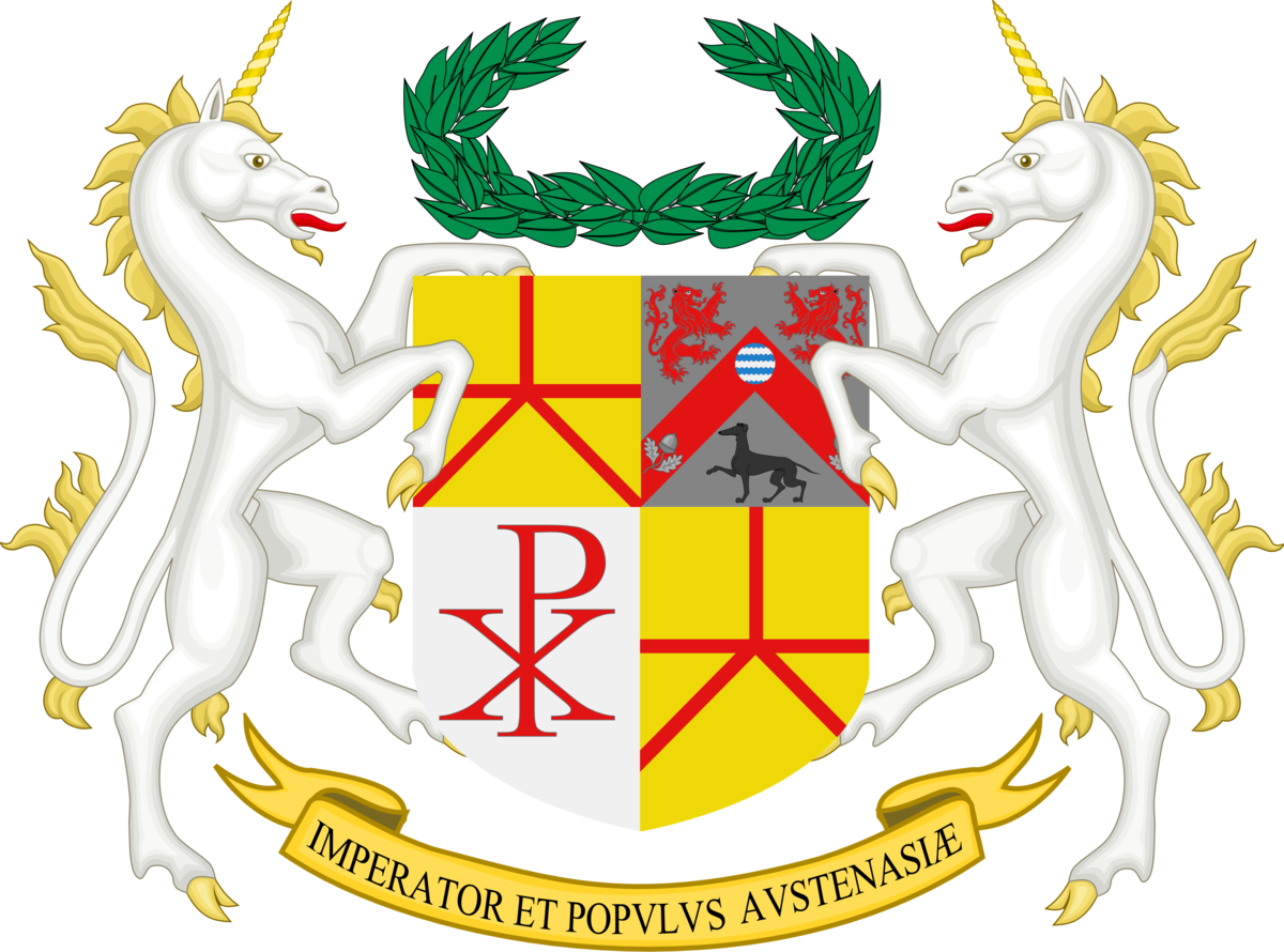 """Austenasia's rather grand coat of arms, but its motto simply means """"The Emperor and People of Austenasia."""" No stirring of patriotic fervor about courage and honour."""