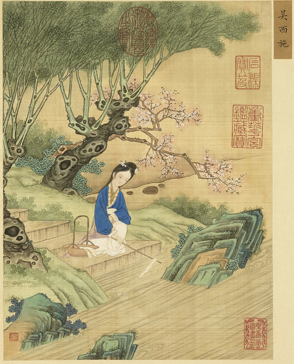 Classical depiction of Xi Shi in the Chinese art collection, Gathering Gems of Beauty.