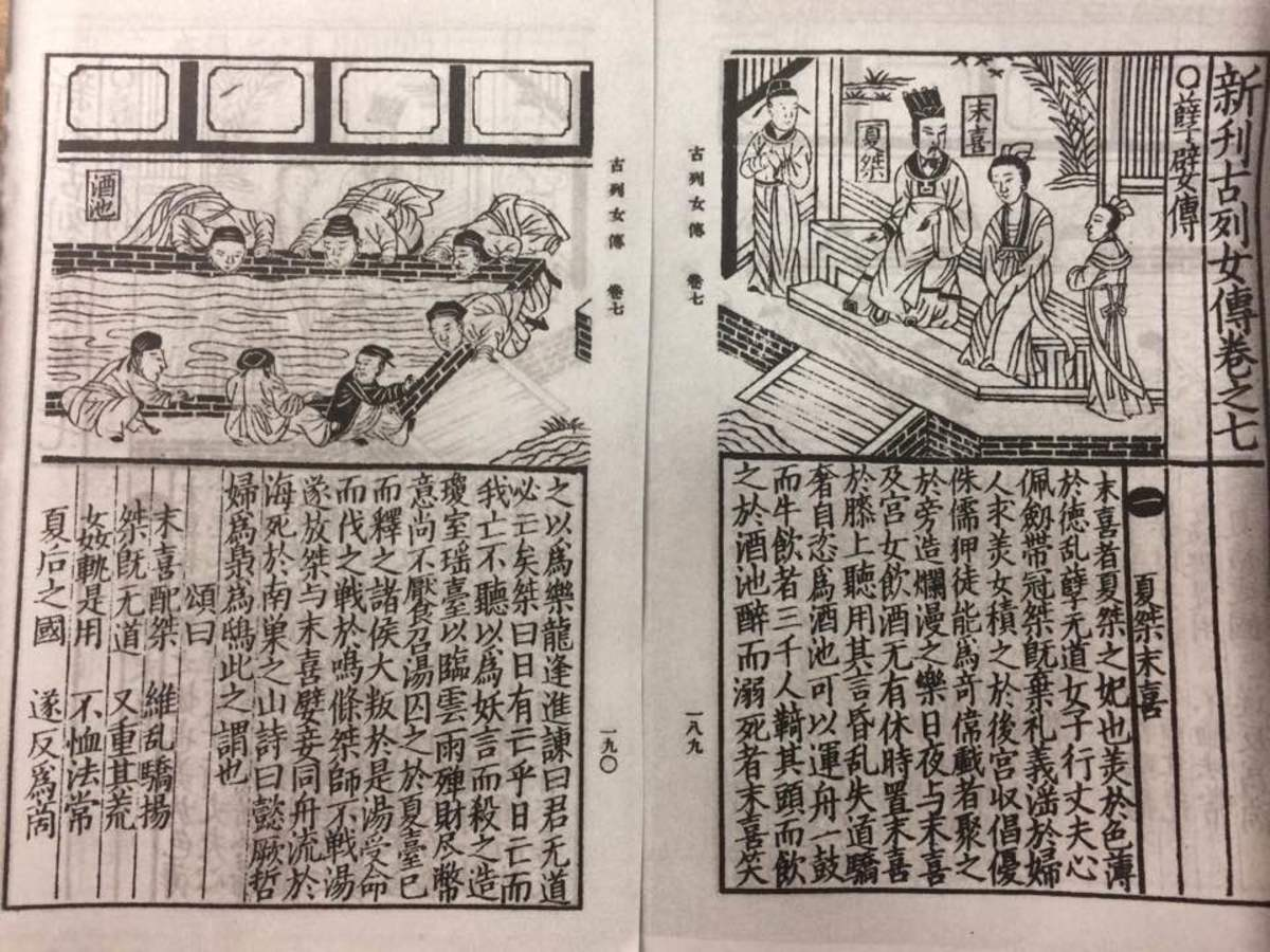Xia Jie and Mo Xi entertained by men drinking from a lake of wine. From the 19th Century Chinese textbook, Biographies of Exemplary Women (New Edition).