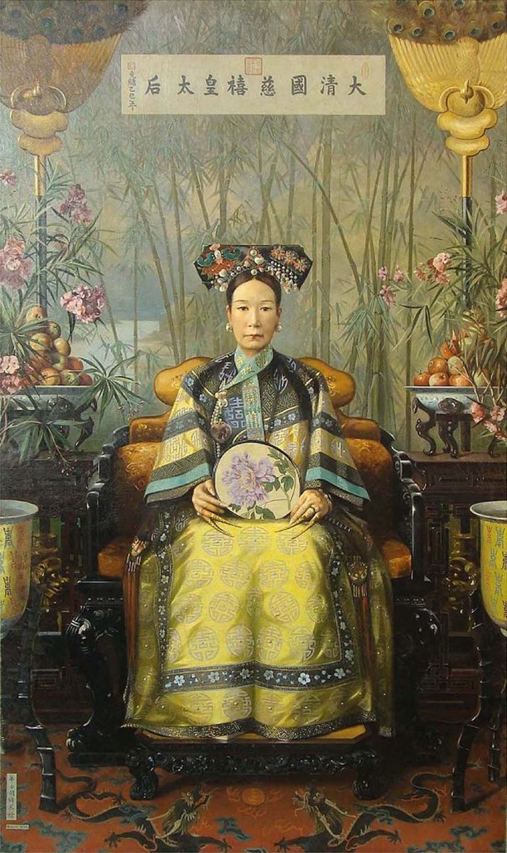 "Oil painting depiction of Empress Dowager Cixi by Hubert Vos. Do note that this depicts the Dragon Lady at an older age, not at her ""prime."""