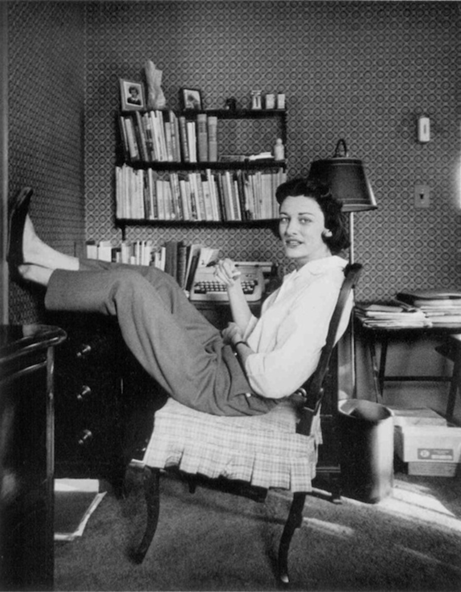 Anne Sexton relaxing in her study