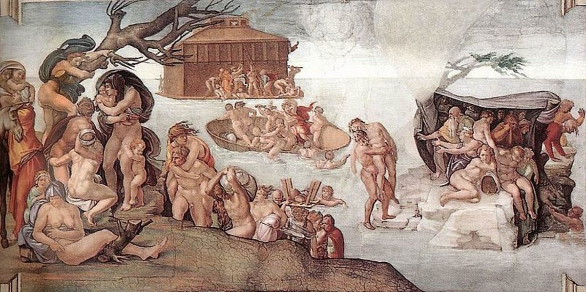 Michelangelo, The Great Flood, Ceiling of the Sistine Chapel (1508). Michelangelo began to paint the last scenes and progressively enlarged the size of the figures in the next ones, where the figure of God appears