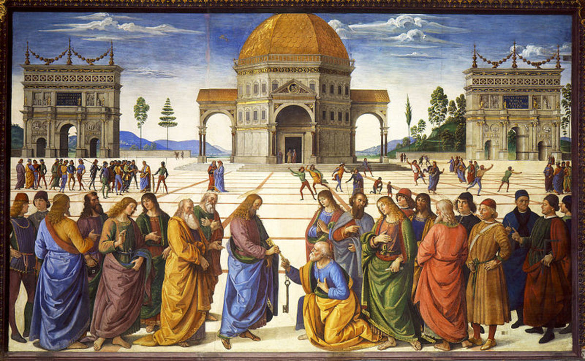 Perugino, Handing of the keys to St. Peter (1481-1483), Sistine Chapel north wall