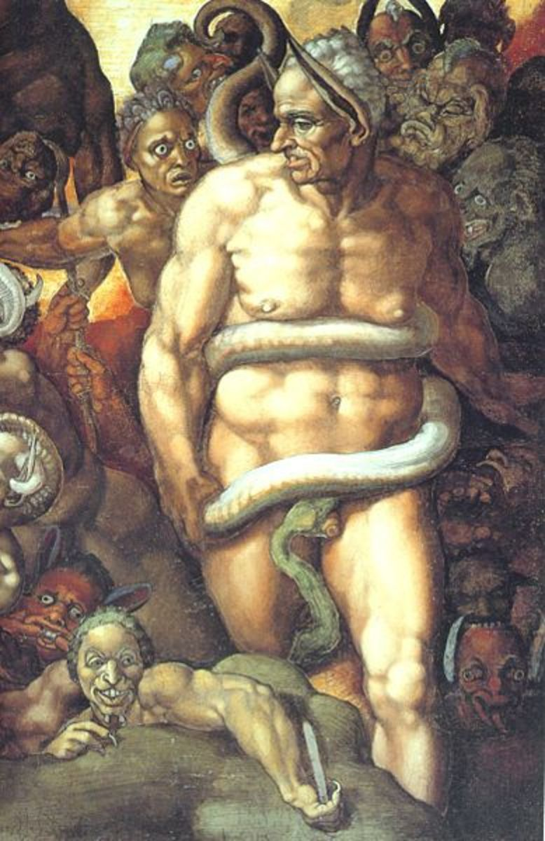 Michelangelo, Detail of the Last Judgement:: the infernal judge Minos