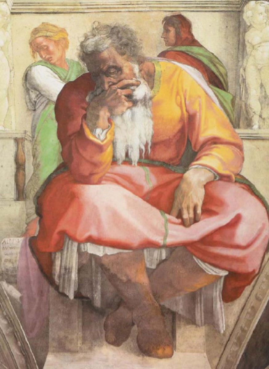 The prophet thoughtful. Michelangelo may have portrayed himself in the figure of the prophet Jeremiah.