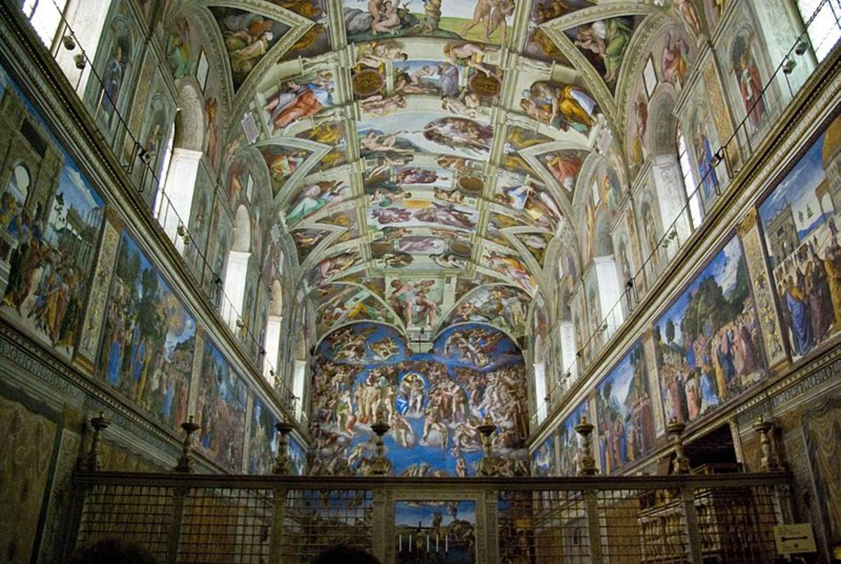 Sistine Chapel interior with the barrier by Mino da Fiesole