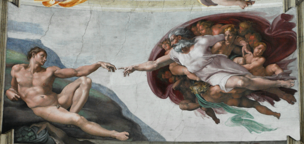 Michelangelo, Creation of Adam, Celing of the Sistine Chapel. Some scholars see the representation of a brain in the cloak that surrounds God