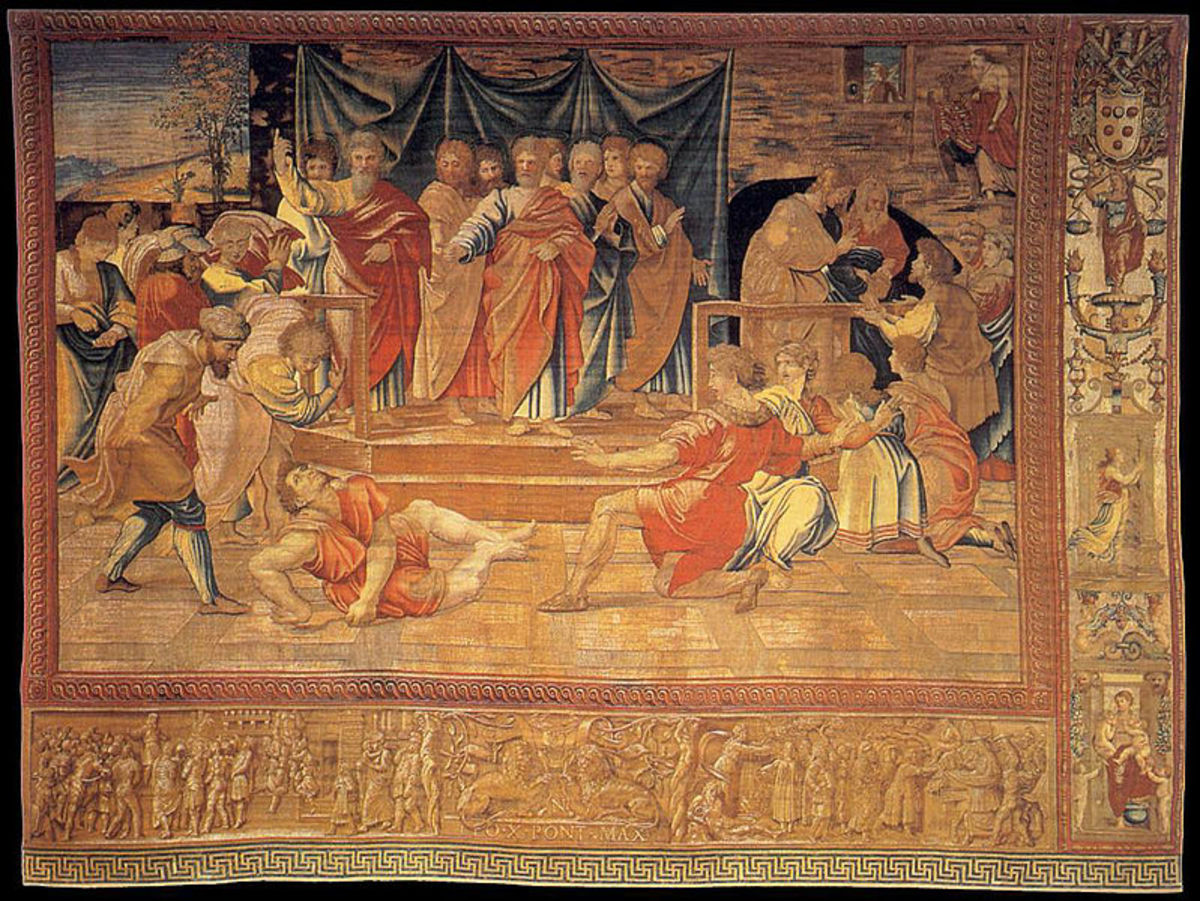 Death of Ananians, Tapestry from a panel by Raphael (1515-1519), Vatican Museums