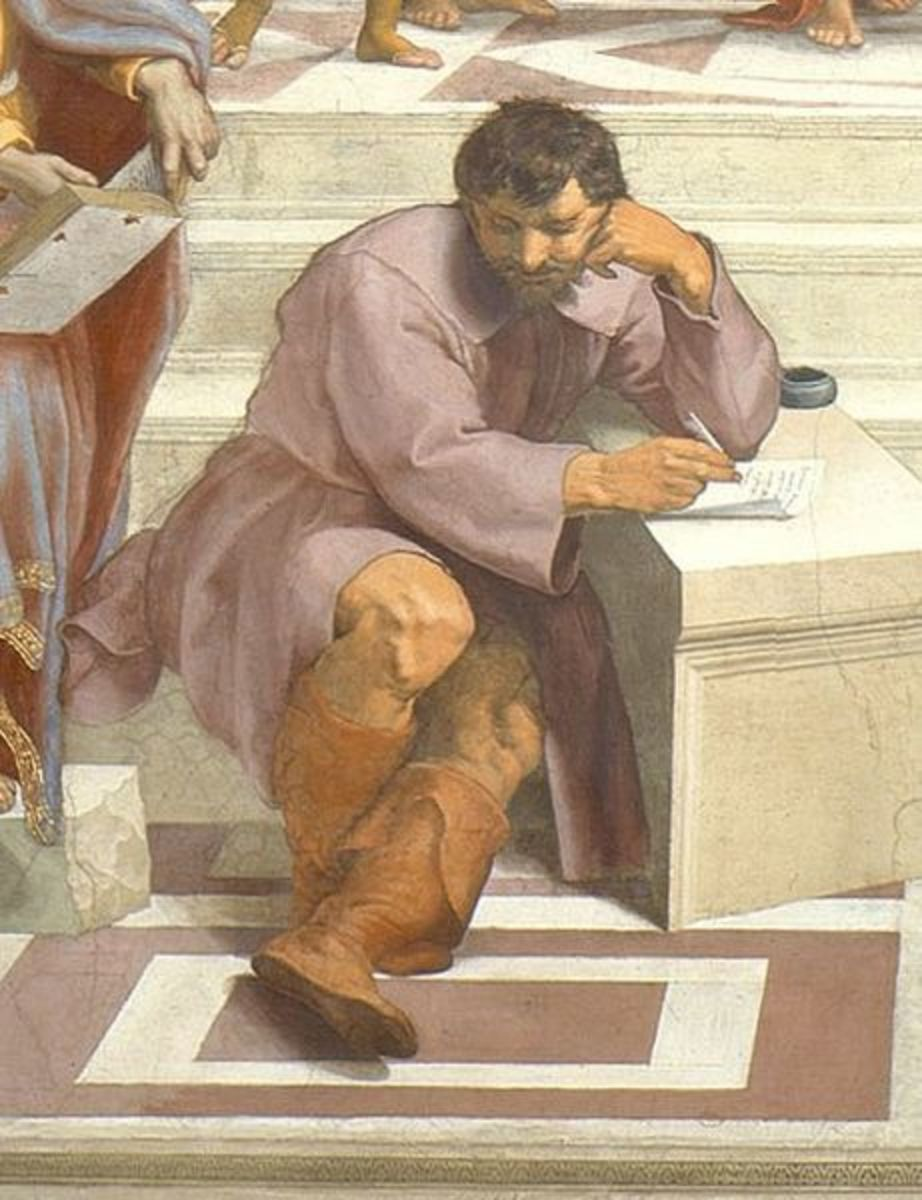 Raphael, School of Athens (1511), Vatican Apartments. Rapahel had seen the frescoes on the Sistine Chapel ceiling while he was working at the pope's apartments. He was so impressed that added the portrait of Michelangelo (as Heraclitus) to his work