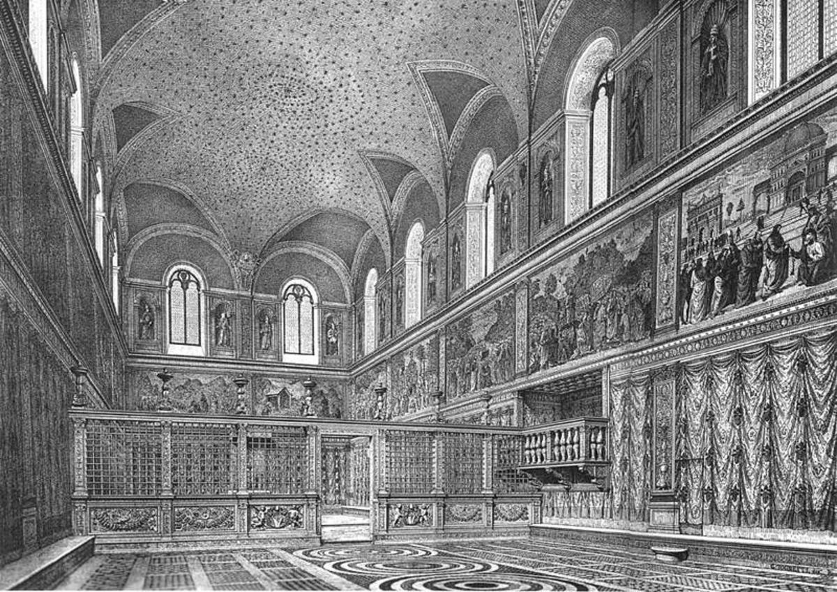 The Sistine Chapel interior as it was supposed to be before the frescoes of Michelangelo in an engraving of XIX century