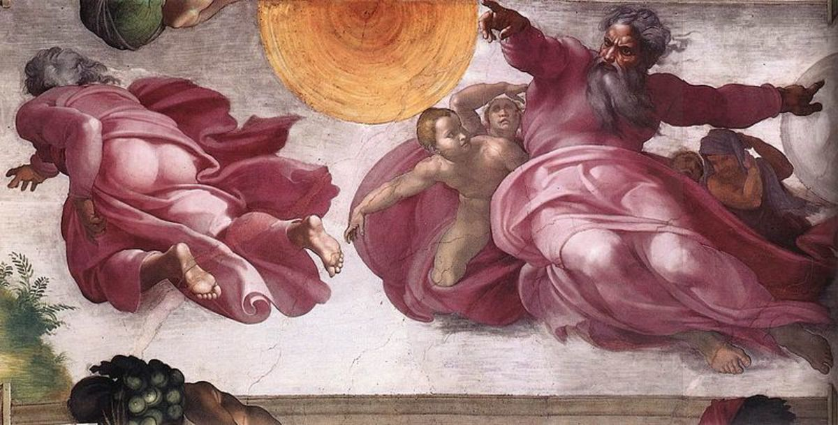 Michelangelo, Sistine Chapel ceiling, the Creation of the Sun and the Moon after the restoration