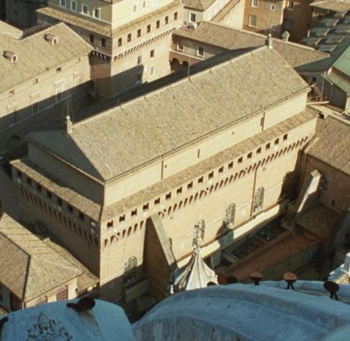 The Sistine Chapel seen from the St. Peter Dome
