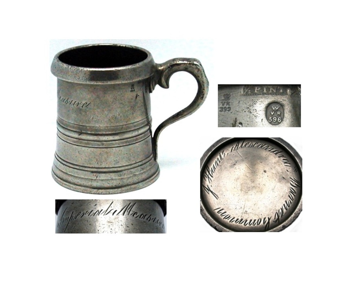 The Imperial Measure of 'Jack' ( Half Pint) marked by a crown on this pewter mug.