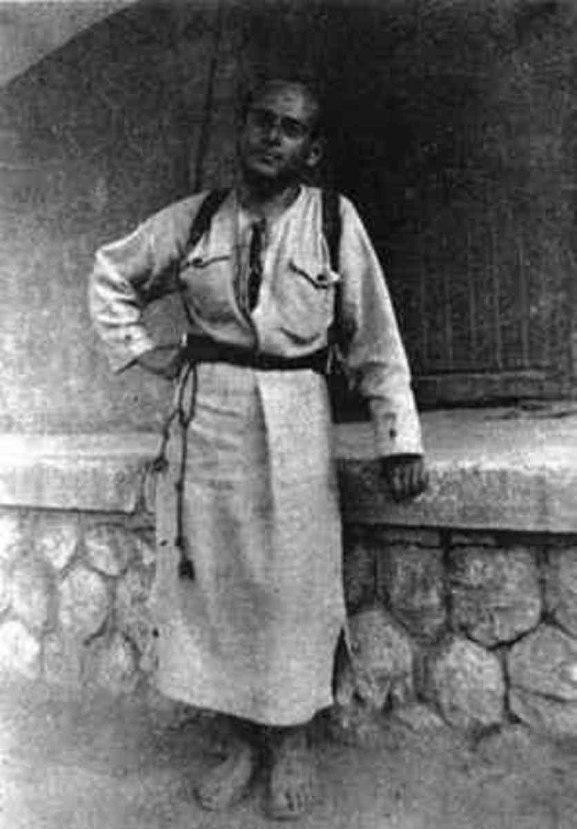 Edmond on his trip to the Carpathians (circa 1930) shows his dress influenced by monastic education.