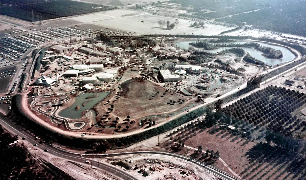 A birdseye view of Disneyland.