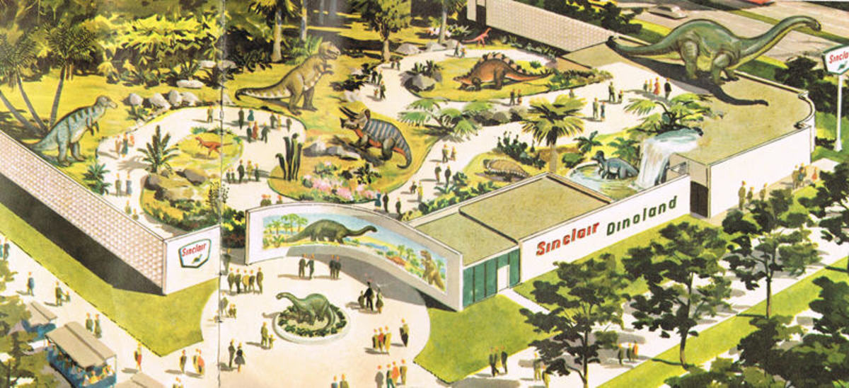An example as to how Disney inspired many of the pavilions, the pavilion for Sinclair Oil featured a dinosaur park. The giant figures didn't move, but you get the picture.
