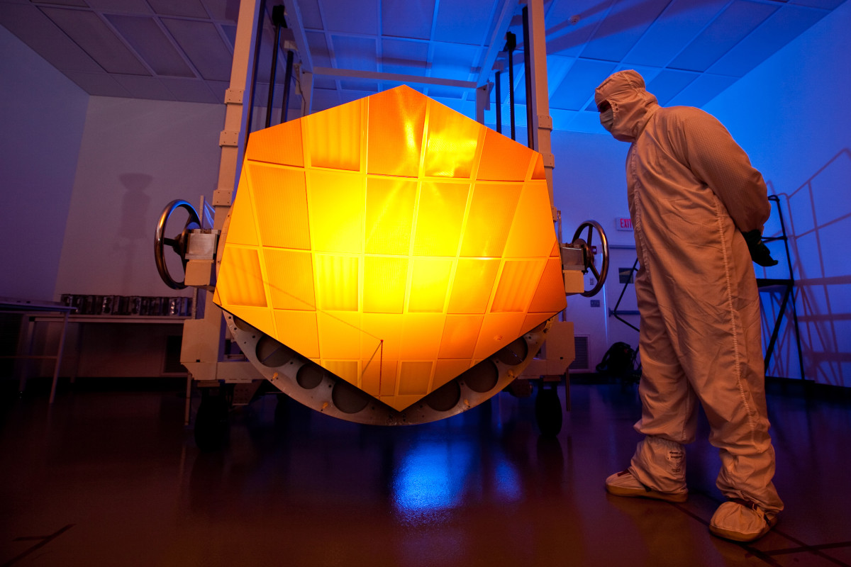 NASA's James Webb Space Telescope has a mirror that is coated with gold (element 79) covered with a thin layer of protective glass. The gold reflects red and infrared light.