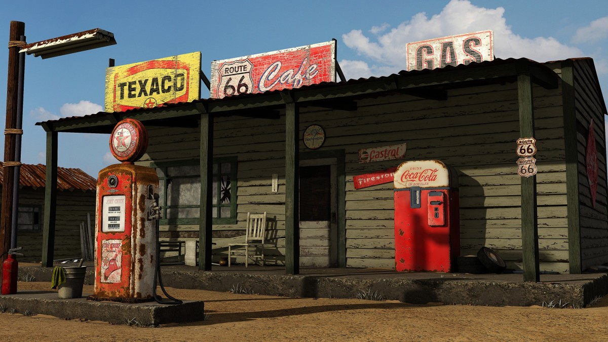 An old-style gas station