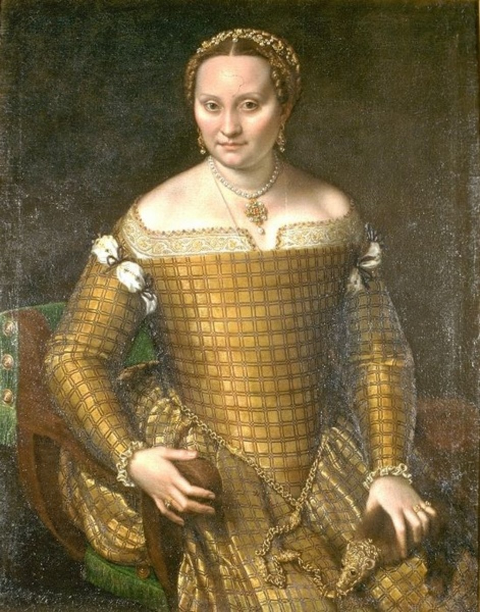Portrait of Bianca Ponzoni (a. 1558), Berlin, Staatliche Museen Preussischer Kulturbesitz, Gemaldegallerie - The mother of Sofonisba is dressed in golden brocade, with the Flohpelzchen (sable bound in gold, originally used against fleas) in the hand.