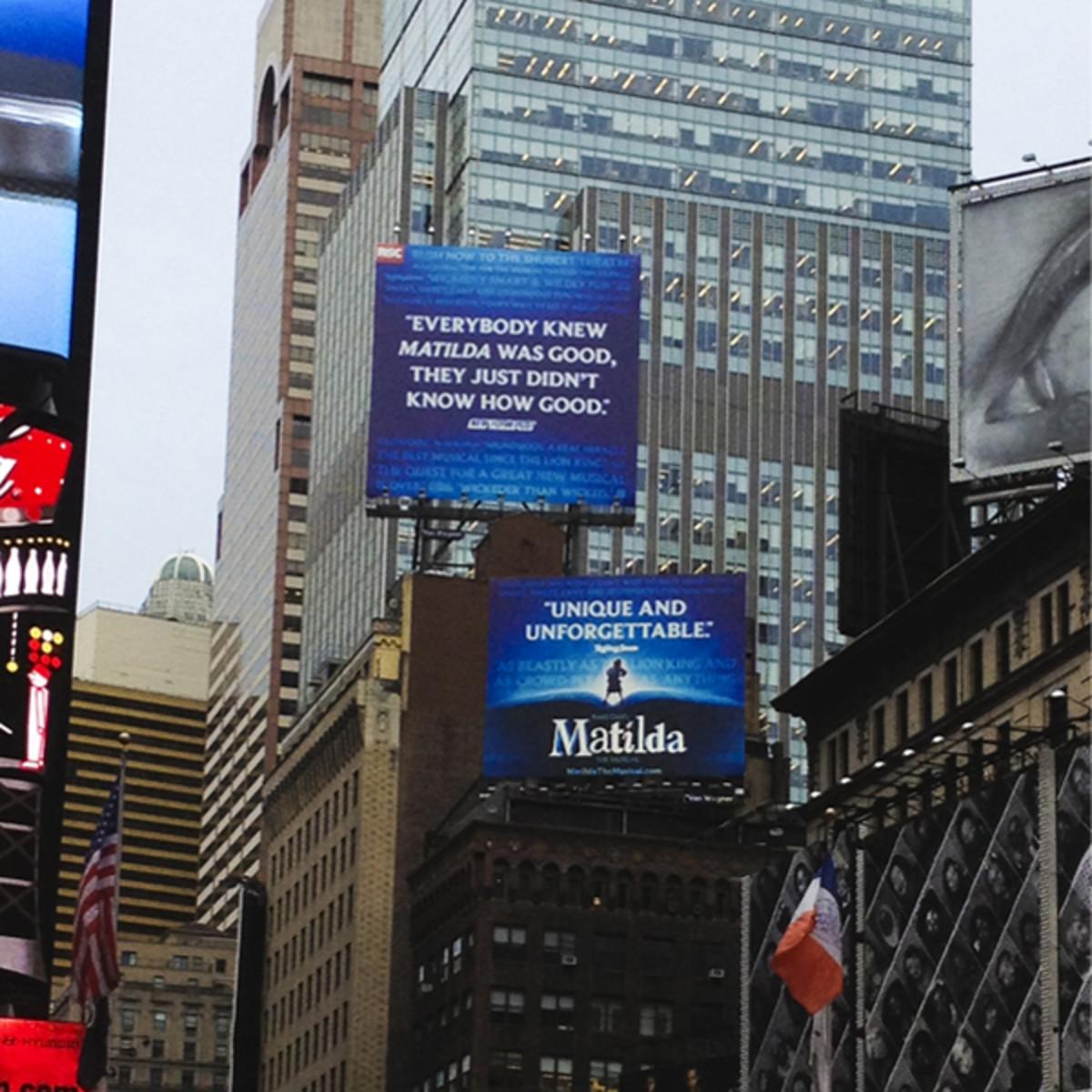 Matilda Billboard in Times Square, NYC