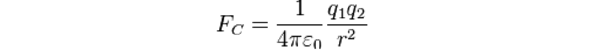 Look familiar? Coulomb's law shows the relation between the charges of the particles, the distance between them, and the proportional force that they create (either attraction or repulsion). The proportion governing this force is vacuum permittivity.