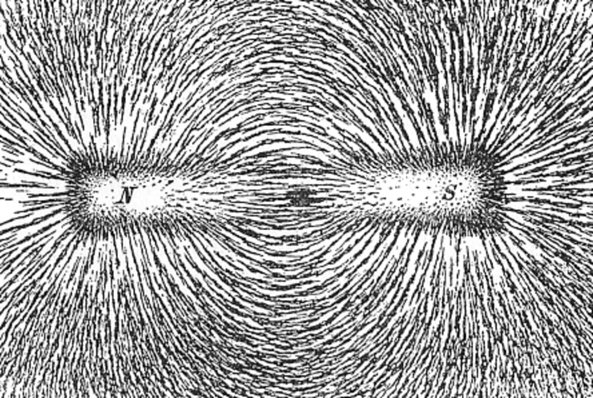Bar magnets showing lines of magnetic force with iron filings.