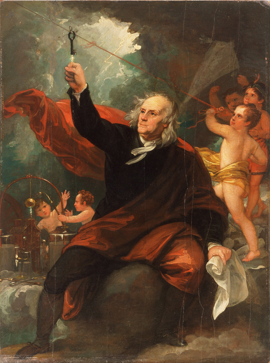 Artistic rendition (no kidding) of Benjamin Franklin's famous kite experiment, which demonstrated electric conductance.