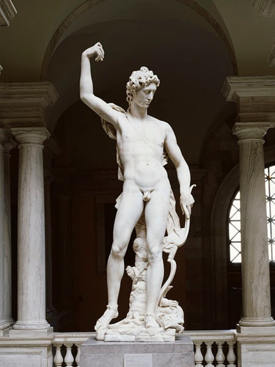 This statue shows the Sun-god Apollo with the serpent Python, which lies dead at his feet. Originally in Florence, Italy, the statue is now in a Baltimore museum.