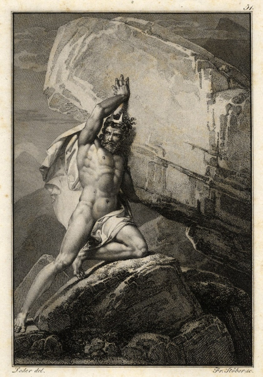 Sisyphus pushing a rock up a hill as punishment.