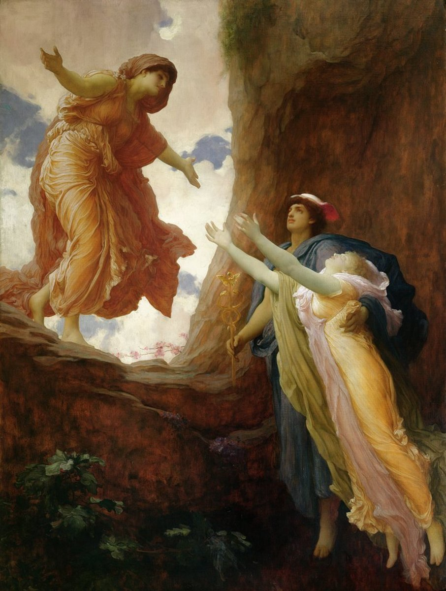 Hermes returns Persephone to her mother, Demeter.