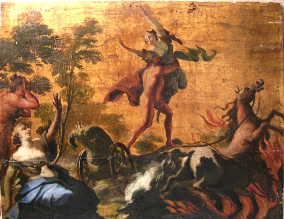 Hades abducts Persephone, who was picking flowers in a field.