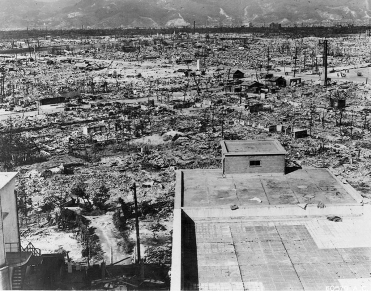The aftermath of the atomic bomb dropped on Hiroshima, Japan during WWII.