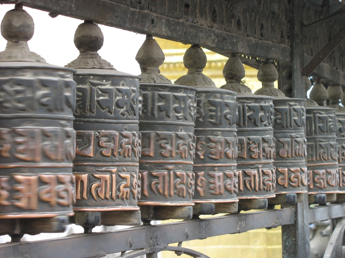 The Lantsa Script on Buddhist Prayer Wheel