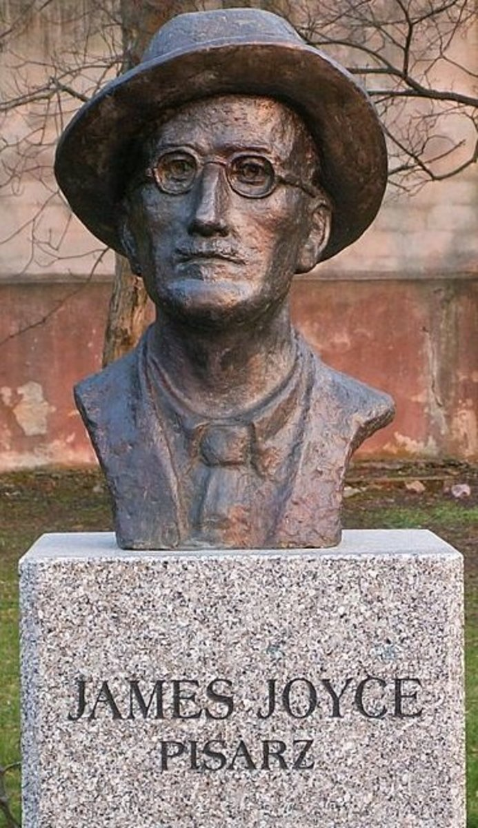 A bust of the legendary Modernist writer James Joyce, displayed in Kielce, Poland.
