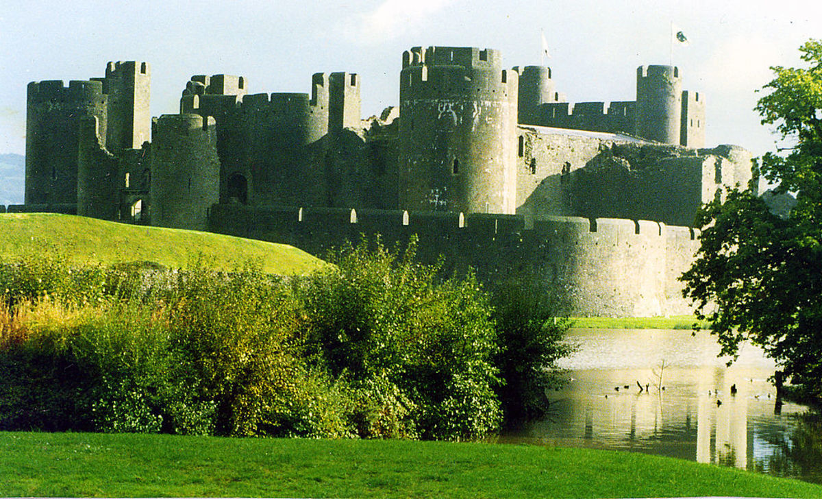 Caerphilly Castle, Wales was built by an English king to control the Welsh.