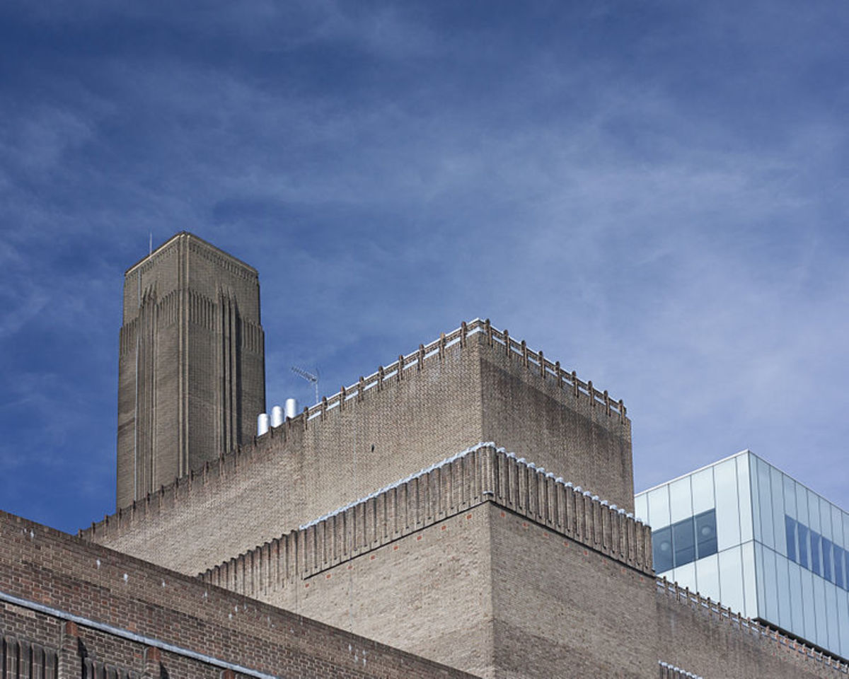 The austere and cathedral-like building which houses the Tate Modern art gallery in London.