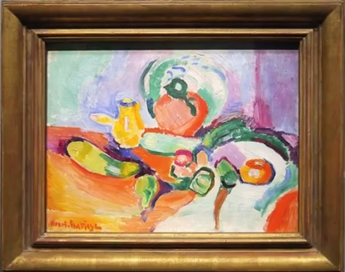 A Still Life by Henri Matisse. Notice the dynamism represented in otherwise still objects and the unrealistic use of color.