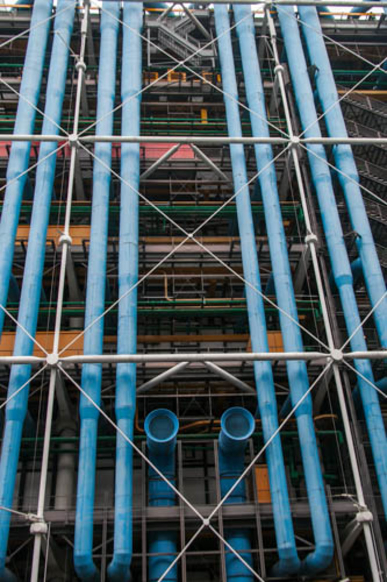 Part of the complex construction of the Pompidou Center in Paris. Paris has long been the epicenter of art in Europe and if you are in Paris, this gallery is well worth a visit.
