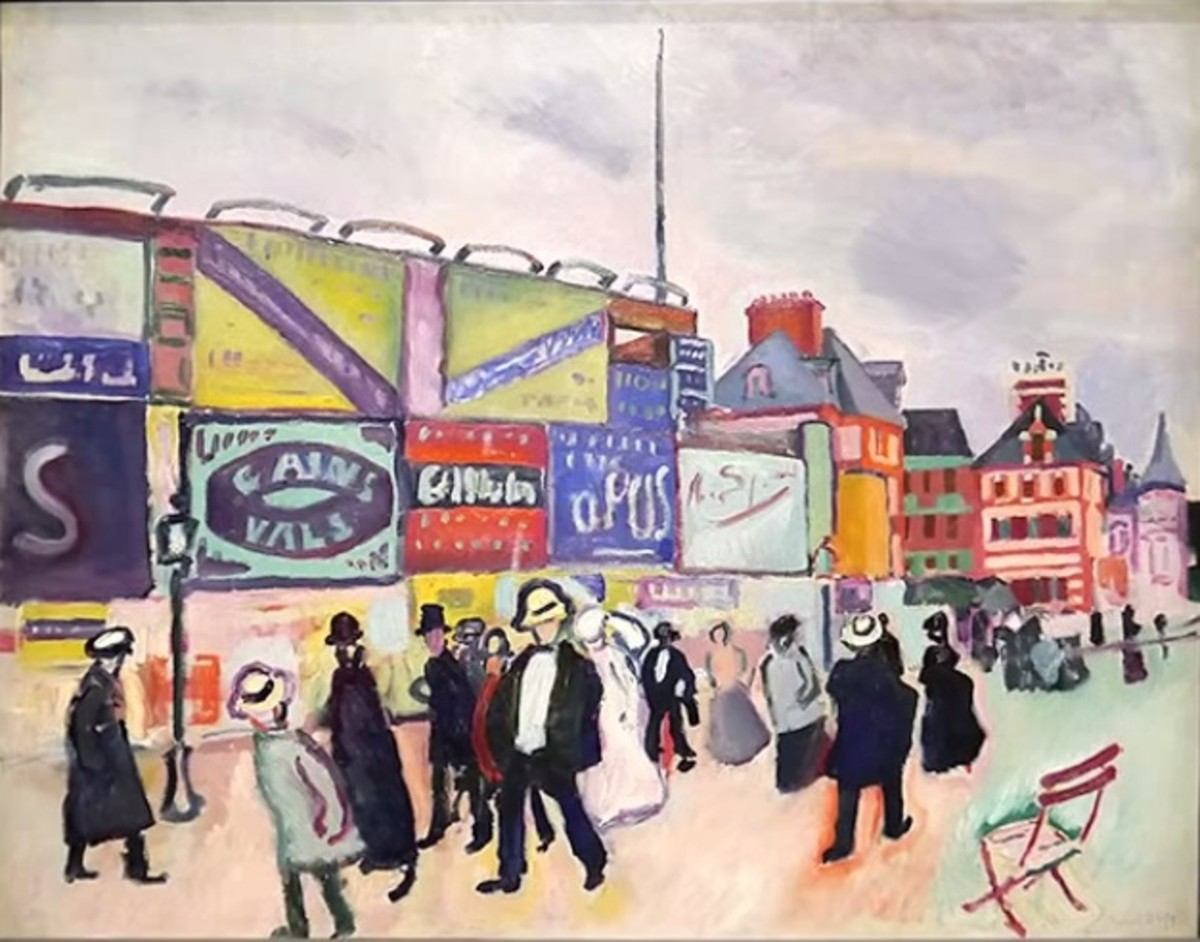"""A street scene, """"Posters in Trouville"""", by Raoul Dufy, an influential artist and member of Les Fauves. These artists often found their inspiration in the everyday rather than Classical myths or religion, which was revolutionary at the time."""