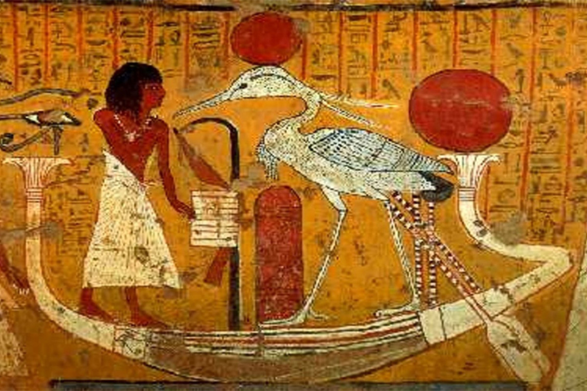 The Bennu bird, which may have inspired the phoenix of Greek mythology, represents the cycle of life and death. It was venerated in Heliopolis, where it was said to live on the Benben stone.