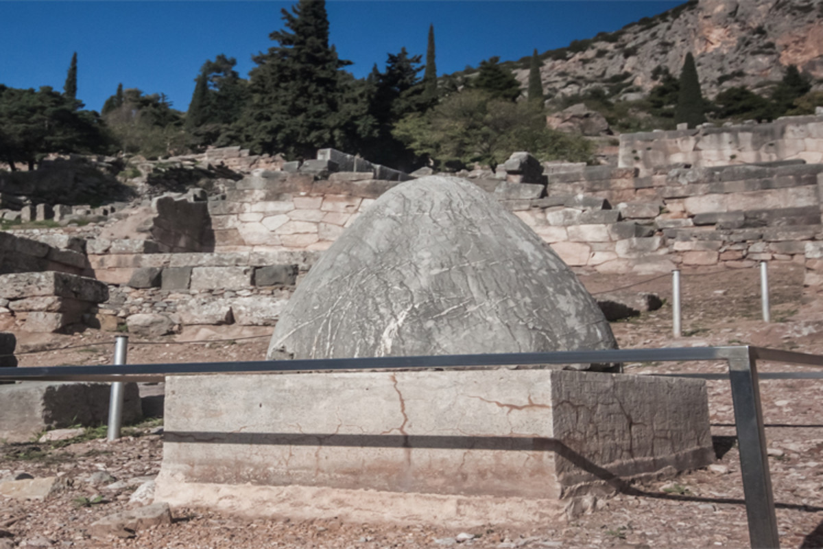 The omphalos that currently stands at Delphi is a Roman copy of the original, which may have been a meteorite.