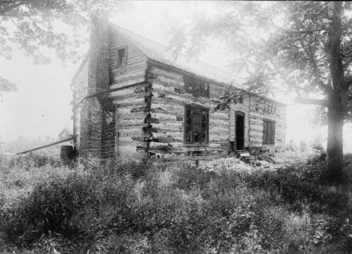 "Gen. Ulysses S. Grant's log cabin on his ""Hardscrabble"" farm."
